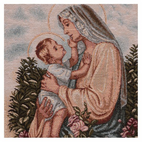 Baby Jesus stroking Our Lady tapestry with frame and hooks 50x40 cm 2
