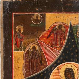 Antique icon 'Our Lady and the burning thorn bush' s2