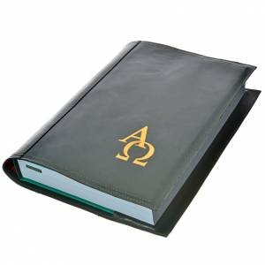 Lectionary covers: Lectionary cover in real leather, Alpha Omega, green