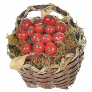 Accessory for nativities of 20-24cm, basket with red fruit in wax s2