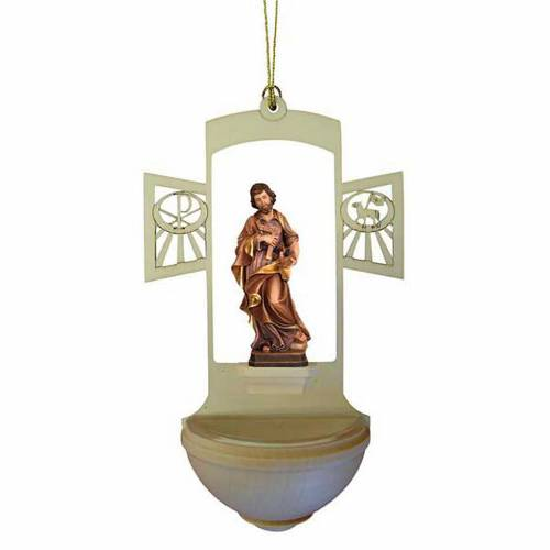 Acquasantiera legno intagliato San Giuseppe s1