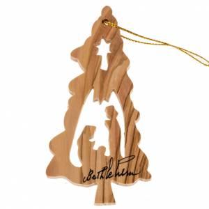 Addobbo albero legno ulivo Terrasanta abete stella Natività s1