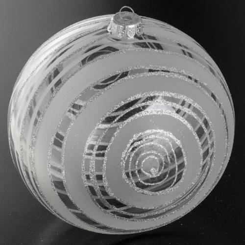 Addobbo albero Natale vetro decori argento 15 cm s2