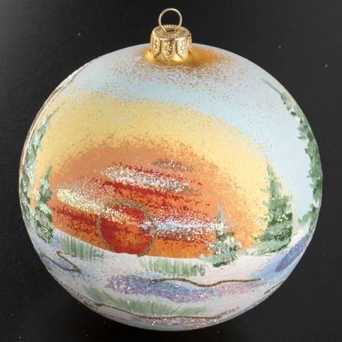 Addobbo albero Natale vetro dipinto paese 12 cm s2
