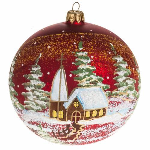 Addobbo albero Natale vetro soffiato rosso paese 12 cm s1