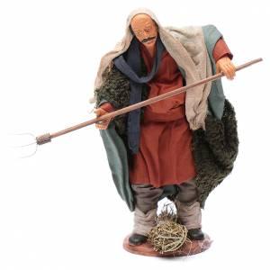 Crèche Napolitaine: Agriculteur avec fourche 14 cm crèche napolitaine