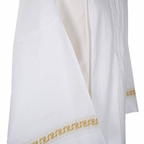 Alb with embroidered gold motif, white wool s4