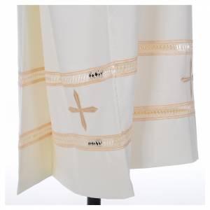 Albas litúrgicas: Alba marfil 55% pol. 45% lana bordado cruz dorada cremallera