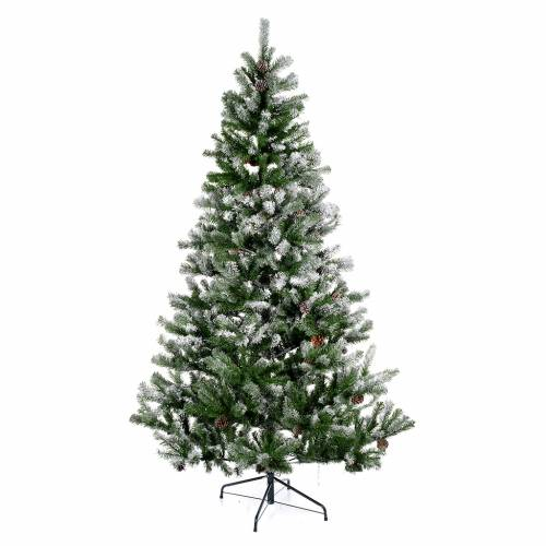 Albero di Natale 210 cm floccato pigne Oslo s1