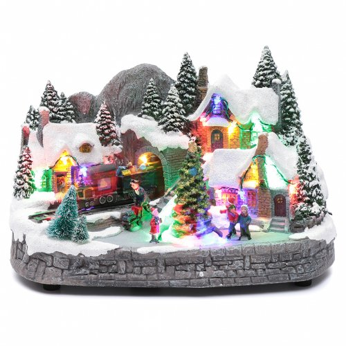 Aldea navideña iluminado musical movimiento árbol navidad 19x31x20 cm s1