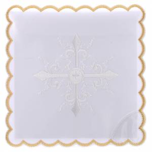 Altar linens: Altar linen white embroideries and baroque cross, cotton