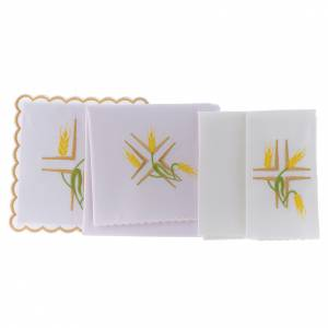 Altar linen yellow spikes and green stem, cotton s2