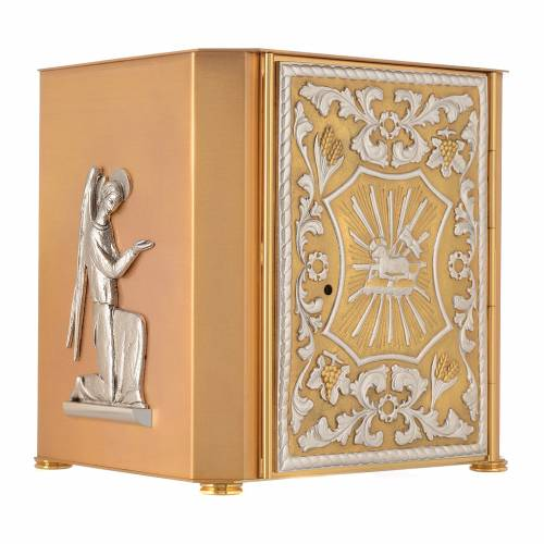 Altar tabernacle Lamb of God and Angel, bicolor brass s2