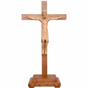 Altenstadt crucifix with base, 52cm in patinated Valgardena wood s1