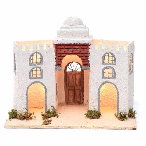 Ambientazione araba bianca doppio arco e porta 30x35x20 cm presepe di Napoli s1