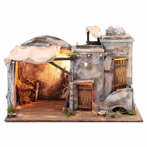 Ambientazione casa araba e capanna 30x40x25 cm presepe di Napoli s1