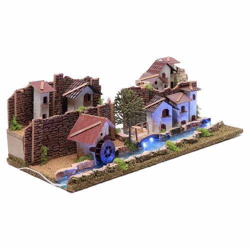 Ambientazione villaggio su fiume luminoso 20x55x25 cm s3
