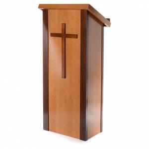 Atriles con columna: Ambón madera de nogal con cruz