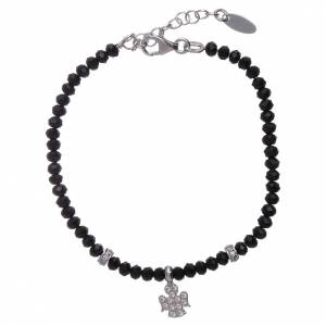 AMEN bracelets: AMEN 925 sterling silver bracelet with black crystals and zircon angel
