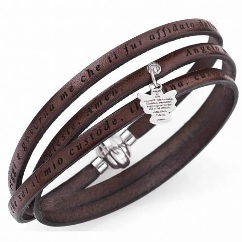 Amen bracelet, Angel of God in Italian, brown charm s1