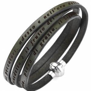 Amen bracelet, Hail Mary in Italian, olive green s1