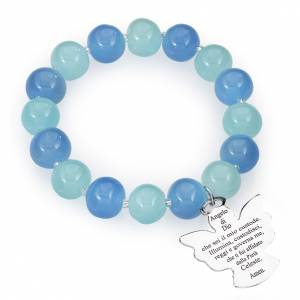 Amen bracelet in blue, aquamarine Murano beads 10mm, sterling si s1