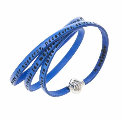 Amen Bracelet in blue leather Hail Mary SPA s1