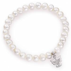 AMEN bracelets: Amen bracelet with round pearls and sterling silver, 6/7mm