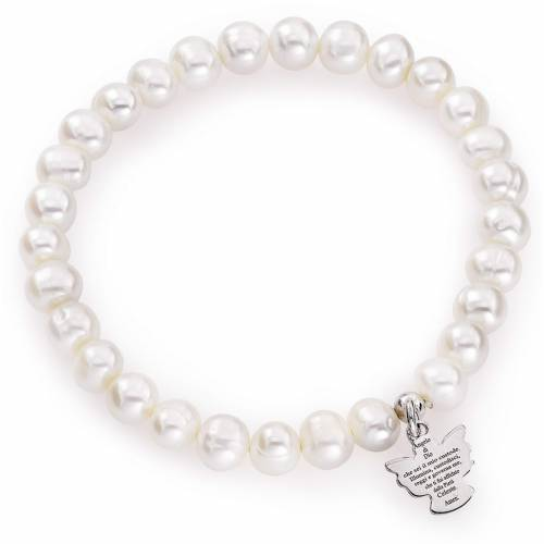 Amen bracelet with round pearls and sterling silver, 6/7mm s1