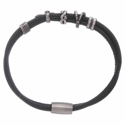 AMEN charm bracelet and bronze leather zirconate cross s2