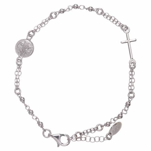 AMEN Saint Benedict rosary bracelet in 925 sterling silver finished in rhodium s1