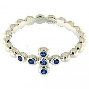 Anello AMEN Boules arg 925 Bianco zirconi blu s2