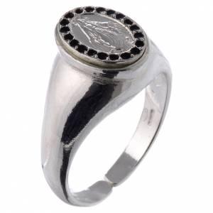 Anello argento 800 Medaglietta Miracolosa smalto nero regolabile s1