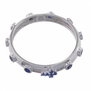 Anello rosario AMEN argento 925 zirconi blu Rodio s2