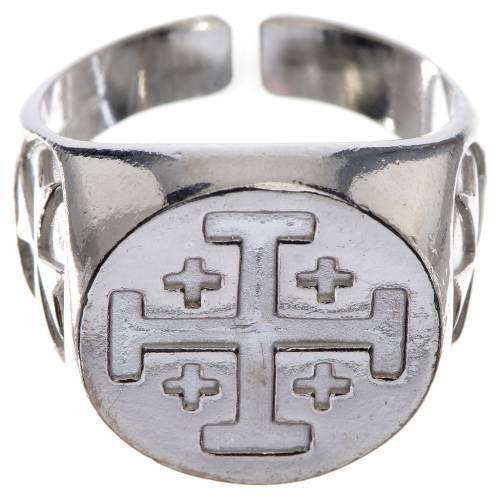 Anello vescovile argento 800 croce Jerusalem s1