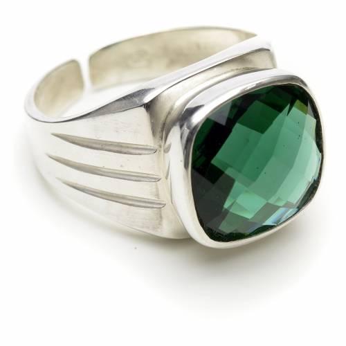 Anello vescovile argento 800 e quarzo verde s1