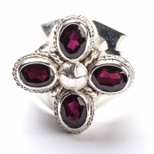 Anello vescovile argento 800 quattro pietre granato s2