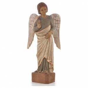 Ange au Sourire de Reims 39 cm legno finitura antica s1