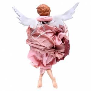 Ange blond 45 cm avec robe rouge crèche Naples s2