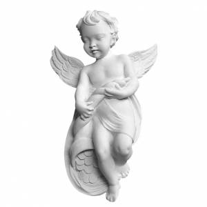 Funeral products: Angel bas-relief in reconstituted carrara marble, 14 cm