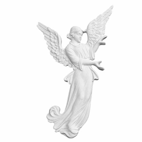 Angel bas-relief made of reconstituted carrara marble, 26 cm s1