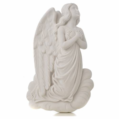 Angel on cloud, 24 cm reconstituted carrara marble bas-relief s1