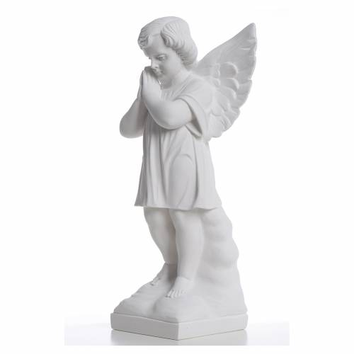 Angel with hands joined in reconstituted white marble 15,75in s2
