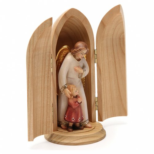 Angel with young girl in niche wooden statue painted s4