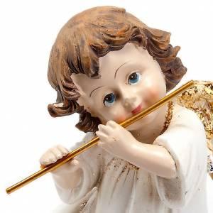 Angelito blanco oro con flauta traversa adorno de navidad s2