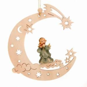 Adornos de madera y pvc para Árbol de Navidad: Angelito músico luna y estrellas