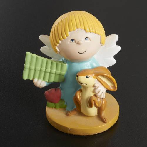 Angels in resin with animals and instruments, 4 pieces s5