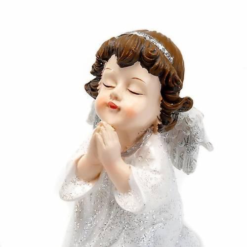 Angioletto in preghiera bianco argentato con glitter s3