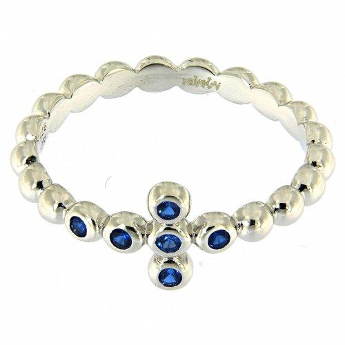 Anillo AMEN modelo Boules plata 925 con circones azules s2