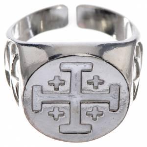 Artículos Obispales: Anillo episcopal de plata 800 con cruz de Jerusalén